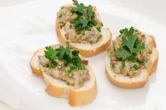Mini bocadillos del bocadillo abierto con pasta de pescados Fotos de archivo libres de regalías