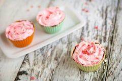 Mini bolos de queijo com fluff de marshmallow cor-de-rosa fotografia de stock royalty free