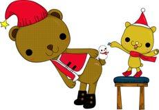 Mini boneco de neve e ursos ilustração stock