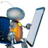Mini bot que sostiene un teléfono móvil en un fondo blanco libre illustration