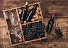 Mini botellas de vino tinto y de vidrios vacíos con las uvas oscuras con los corchos y abrelatas dentro de la caja de madera del  fotos de archivo