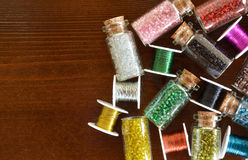 Mini bottles with beads and wire crafts Stock Photos