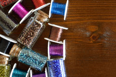 Mini bottles with beads and wire crafts Stock Images