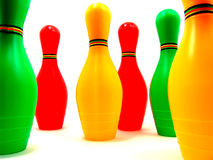 Colorful mini-bowling set Royalty Free Stock Photos