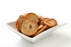 Mini bread chips Stock Images