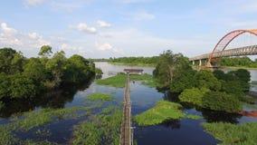 Mini Bridge överst av en sjö - Borneo Royaltyfria Bilder