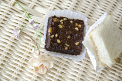 Mini brownie and sandwiches Stock Images