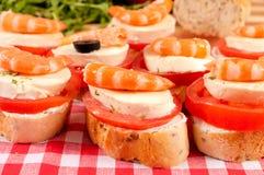 Mini kanapki z garnelami Obraz Stock