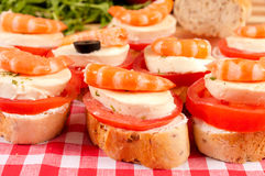 Mini sandwiches with shrimps Stock Image