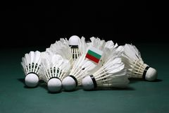 Mini Bulgaria flag stick on the heap of used shuttlecocks on green floor of Badminton court. With dark black background stock photography