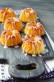Mini bundt cakes with glaze. Yoghurt and lemon mini bundt cakes with glaze Stock Image