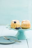 Mini bundt cakes. With icing sugar on a cake stand with blueberries Stock Photography
