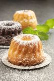 Mini bundt cakes with icing sugar, close-up