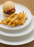 Mini burger with french fries Royalty Free Stock Photo