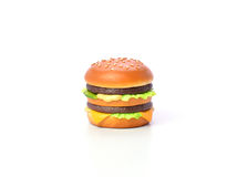 Mini burger model from japanese clay on white background Royalty Free Stock Photos