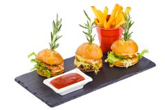 Mini burger with spicy sauce french fries Royalty Free Stock Photos