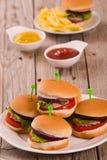 Mini burgers. royalty free stock photo