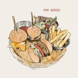 Mini Burgers Fotografia de Stock Royalty Free