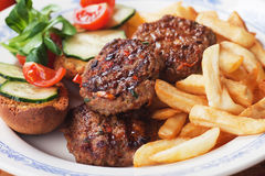 Mini burgers with french fries Royalty Free Stock Images