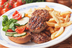 Mini burgers and french fries Stock Photos