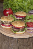 Mini burgers Royalty Free Stock Images