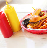 Mini Burgers With Fries Royalty Free Stock Photography
