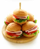 Mini burgers with ham and vegetables Stock Photography