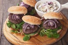 Mini burgers Stock Photography
