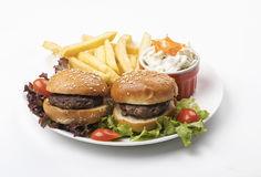 Mini Burgers platter with fried & Salad Stock Image