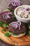 Mini burgers with red onion Stock Photo