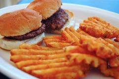Mini burgers with wavy fries Stock Photo