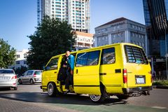 Mini bus taxi in Johannesburg. royalty free stock image