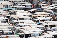 Mini Buses apertado embalado Imagem de Stock