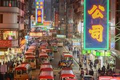 Mini buses station in Mong Kok, Hong Kong. Hong Kong, China - January 04, 2014 : People at Fife Street, Mong Kok, Hong Kong. It is a mini bus station in Mong Royalty Free Stock Images