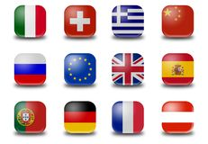 Mini-Button World Flags Stock Image