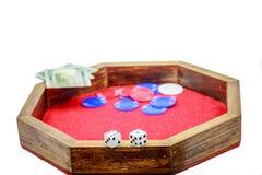 Mini bzdury stół Szczerbi się kostka do gry pieniądze Fotografia Royalty Free