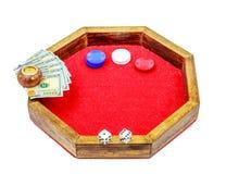 Mini bzdury stół Szczerbi się kostka do gry pieniądze Obrazy Stock