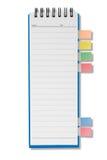 Mini caderno longo da forma da página em branco Fotografia de Stock