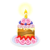 Mini cake. Cake with fruit and cream roses. Candle Royalty Free Stock Photo