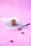 Mini Cake with Chocolate Cream and Raspberries Stock Photo