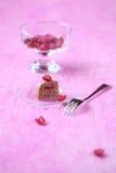 Mini Cake with Chocolate Cream and Raspberry Jam Royalty Free Stock Photos