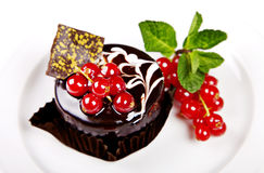 Mini cake with chocolate, mint and berries Royalty Free Stock Image