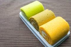 Mini  cake roll. Mini cake roll on plate Royalty Free Stock Image