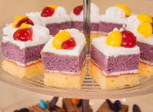 Mini cake with strawberry jelly on glass tray for party event Royalty Free Stock Image