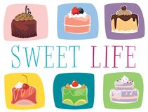 Mini cakes. Illustration of six mini cakes Stock Images