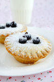Mini cakes with berries and icing sugar Stock Photos