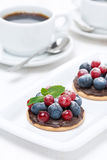 Mini cakes with chocolate cream and berries and coffee Stock Photos
