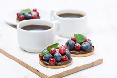 Mini cakes with chocolate cream, berries Stock Images