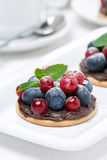 Mini cakes with chocolate cream and fresh berries Stock Photography