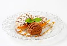 Mini cakes with chocolate ice cream Royalty Free Stock Photo